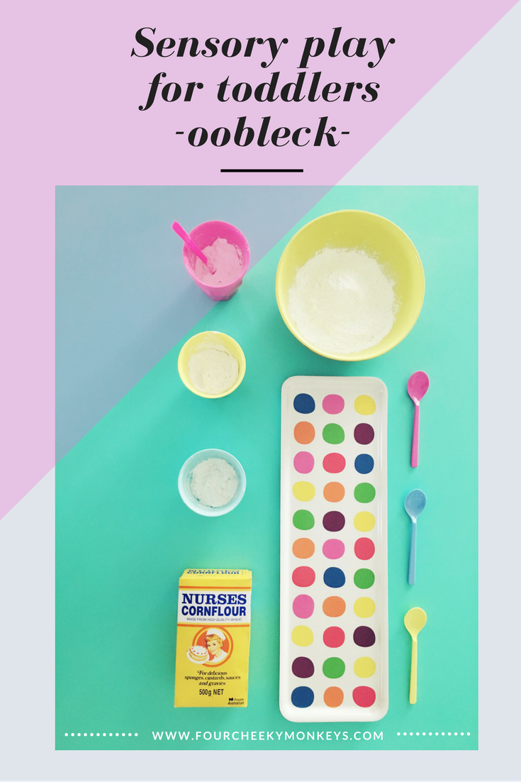 how to make OObleck - sensory play for toddlers