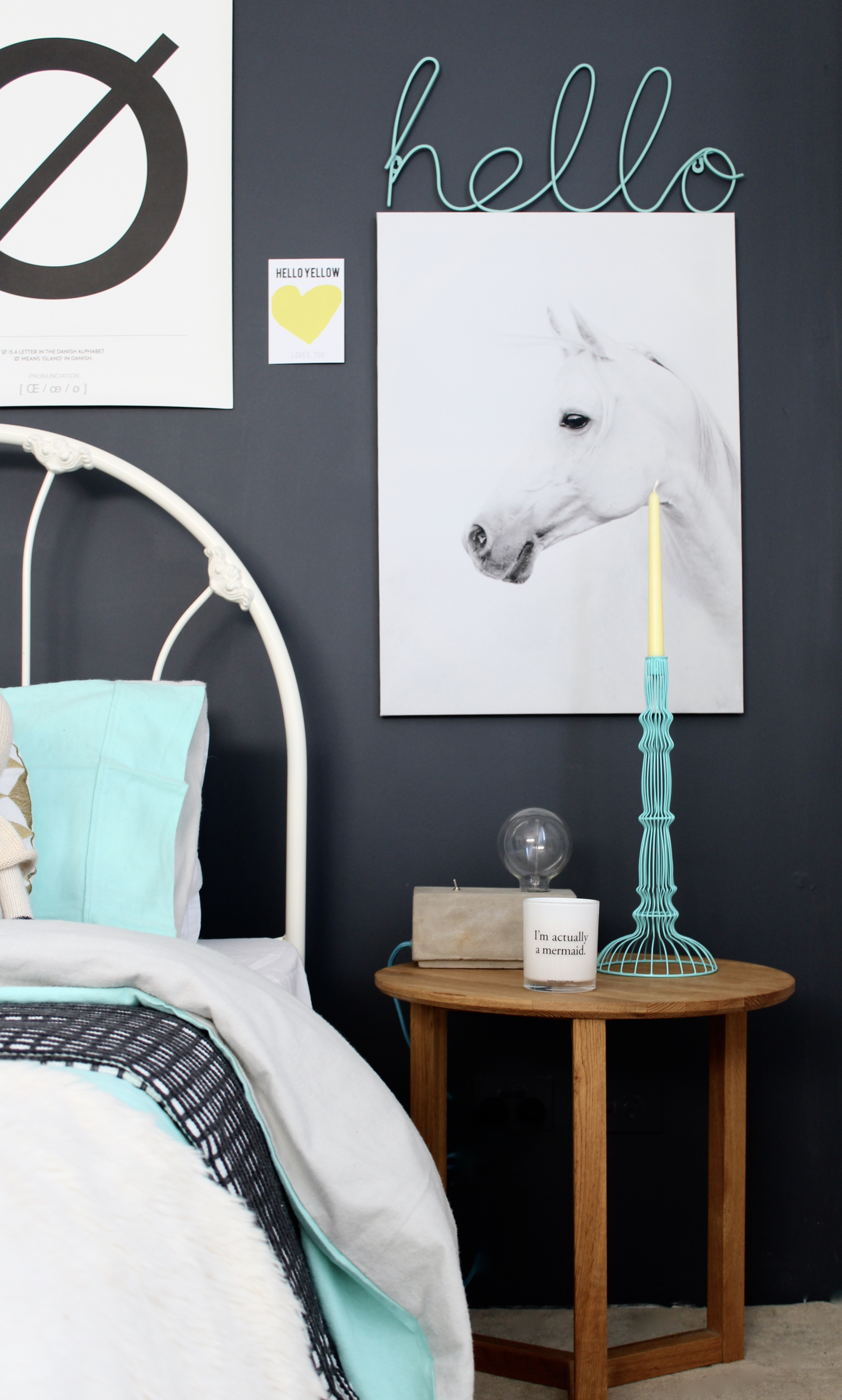 Grey and Mint girls bedroom