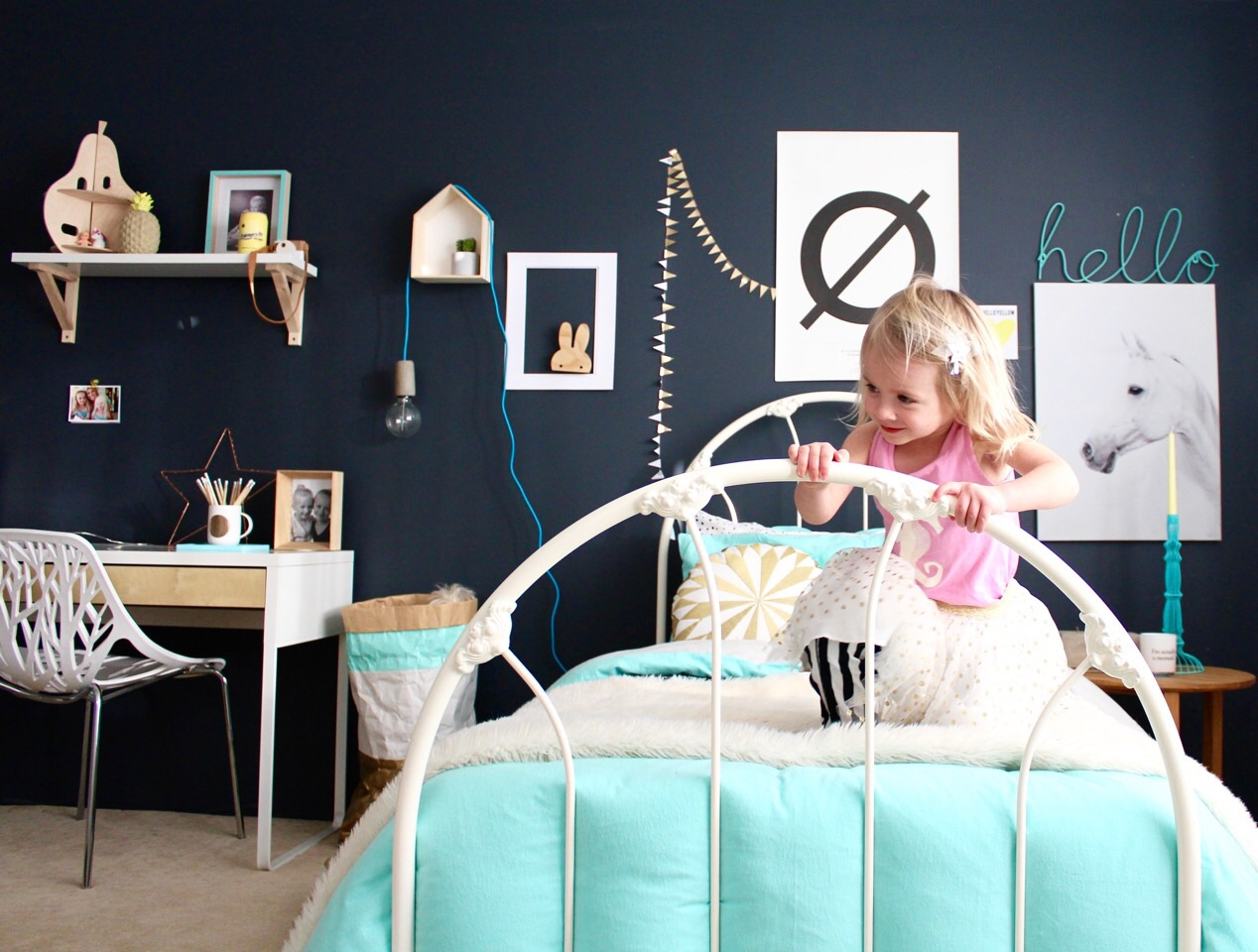 Mint and grey kids bedroom - four cheeky monkeys blog