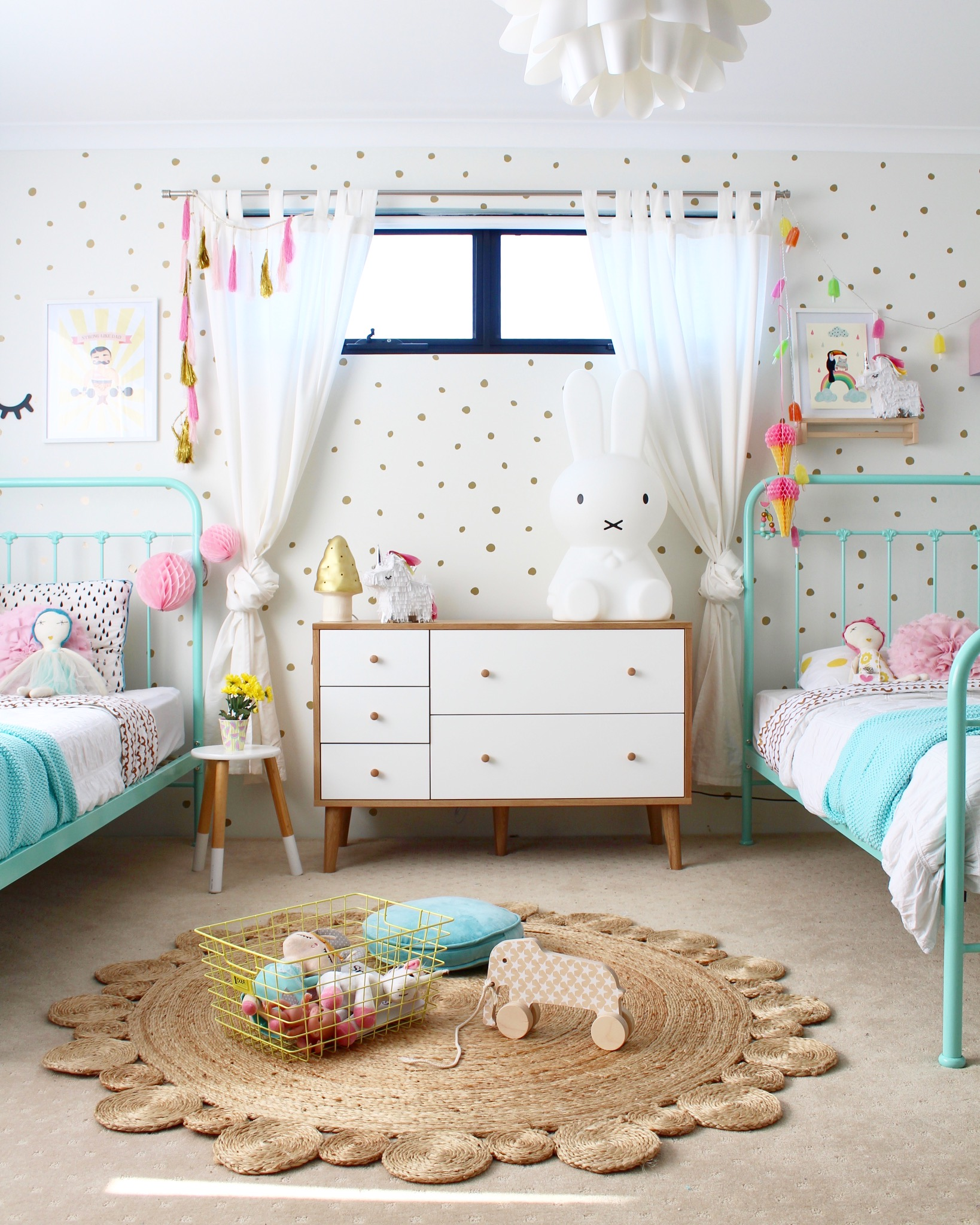 Shared girls bedroom ideas four cheeky monkeys for Toddler girl bedroom ideas