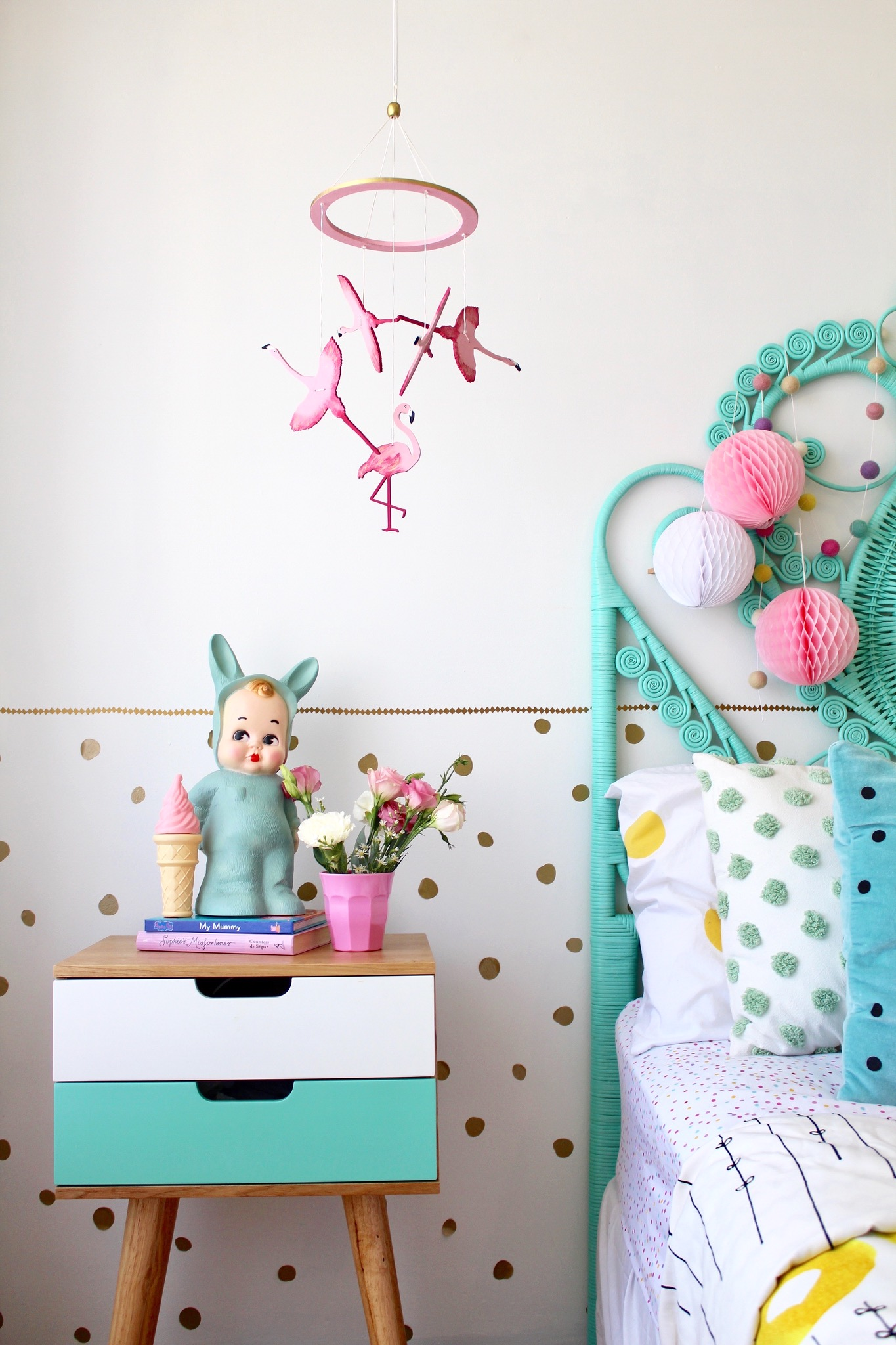 Kids decor - flamingo mobile by Sun and Co | children's and nursery bedroom ideas | styling and photography by four cheeky monkeys