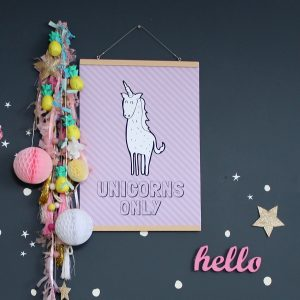 Unicorns Only - kids bedroom decor | digital wall art for children