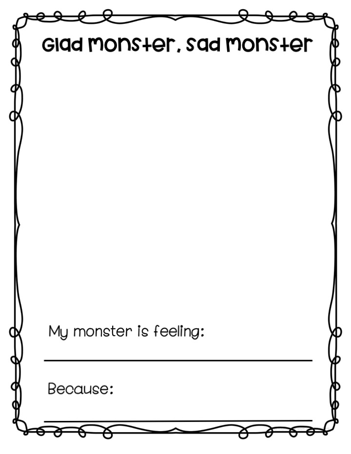 sad monster glad monster feelings activities and craft ideas for