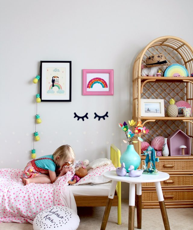 Kids bedroom ideas - colourful toddler girls bedroom. Love that artwork!